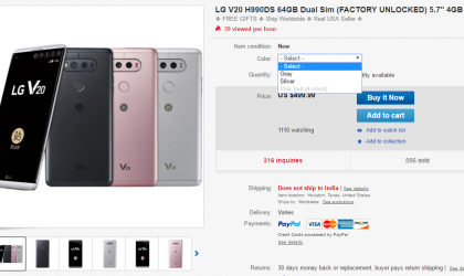 Deal: LG V20 64GB (unlocked) available for $450 on eBay