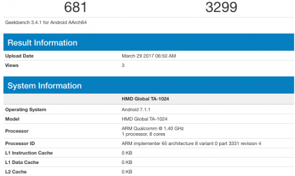 Nokia 5 benchmarks now available on Geekbench