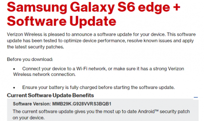 Verizon Galaxy S6 Edge+ February security update rolling out, build G928VVRS3BQB1