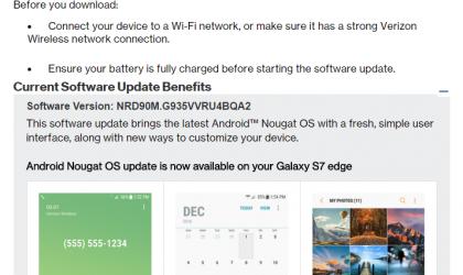 Verizon Galaxy S7 and S7 Edge Nougat update rolling out, build G930VVRU4BQA2 and G935VVRU4BQA2