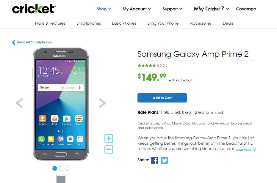 Cricket launches Samsung Galaxy Amp Prime 2 for $150