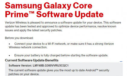 Verizon releases March security update for Galaxy Core Prime, build G360VVRU3CQC1