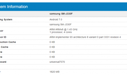 Samsung Galaxy J3 2017 specs revealed finally as SM-J330F shows up on Geekbench