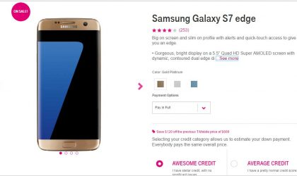 Deal: T-Mobile Galaxy S7 Edge is available for $480 (off by $120)