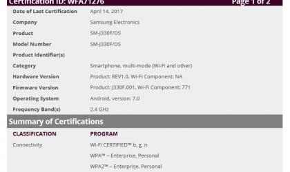 Galaxy J3 2017 (SM-J330F) certified by WiFi Alliance