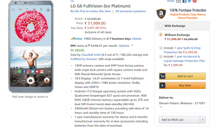 LG G6 now available on Amazon India for Rs 51,990