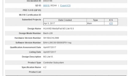 Huawei MediaPad M3 Lite 10.0 certfied by Bluetooth SIG