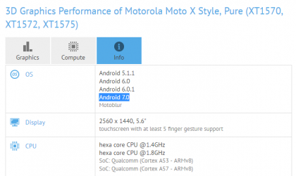 Moto X Style and X Pure Nougat update spotted on GFXBench