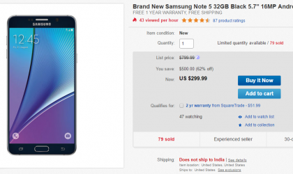 Deal: Get a brand new AT&T Galaxy Note 5 for $299 only on eBay