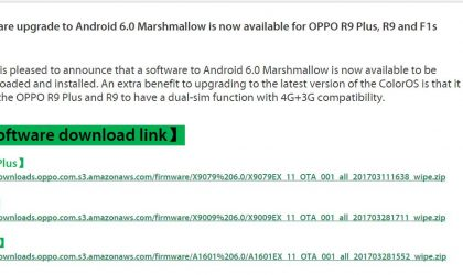 Oppo R9, R9 Plus, and F1s Marshmallow update released in Australia