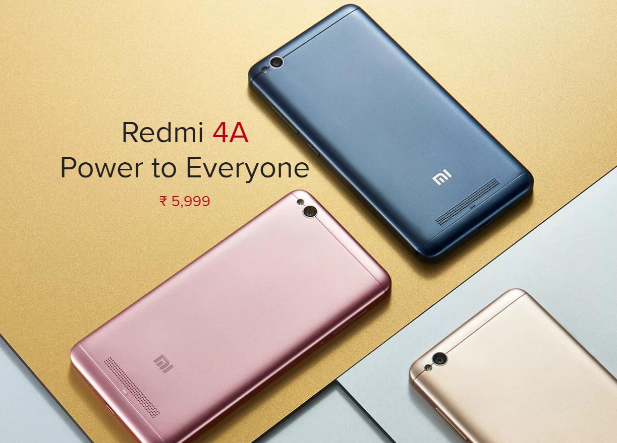 Xiaomi releases Redmi 4A rose gold color in India