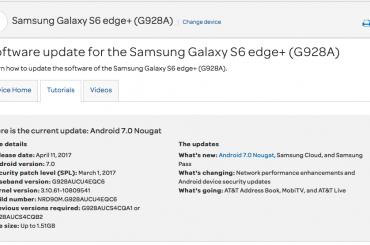 Galaxy S6 Edge+ Nougat update