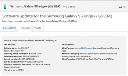 AT&T Galaxy Note 5 and Galaxy S6 Edge+ Nougat update now rolling out