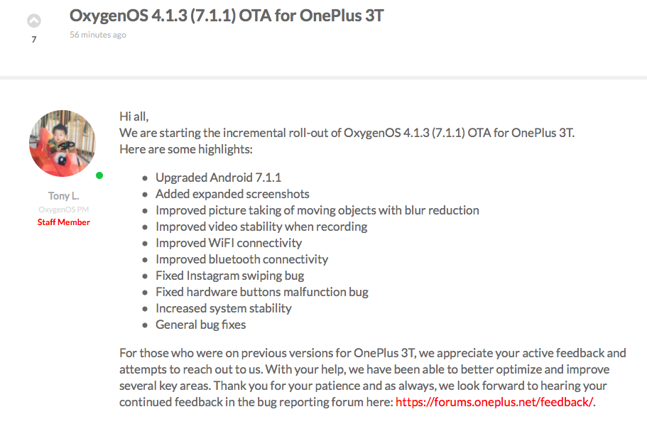 OnePlus 3 and 3T Begin Receiving the OxygenOS 4.1.3 OTA Update