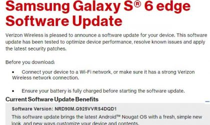 Verizon Galaxy S6 and S6 Edge Nougat update rolling out, build G920VVRS4DQD1 and G925VVRS4DQD1