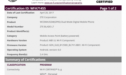ZTE Blade L7 running on Android 6.0 Marshmallow certfifed by WiFi Alliance