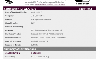 ZTE Z839 is an upcoming Android 7.1.1 device