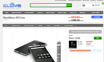 BlackBerry KEYone releasing in Europe on May 5