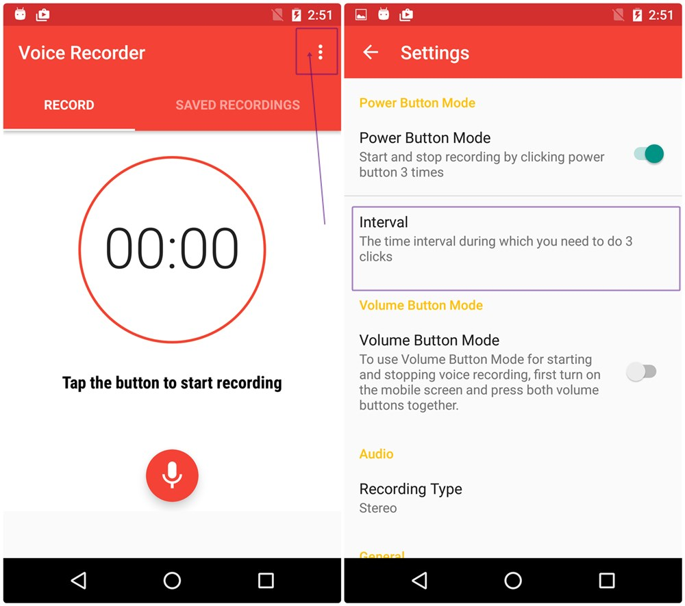change-time-intevral-secret-voice-record-android