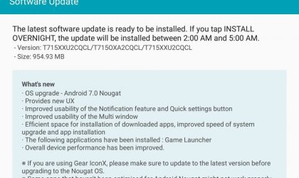 Samsung Galaxy Tab S2 Nougat update rolling with April security patch, build T715XXU2CQCL