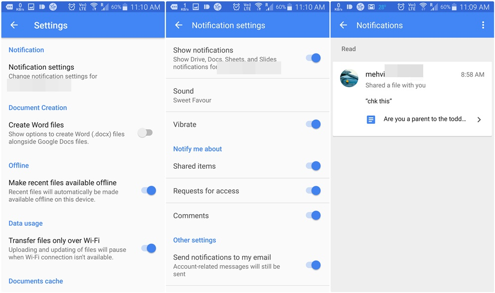 google docs slides and sheets update brings recent notifications