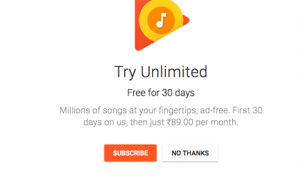 Google Play Music All Access now available in India for Rs. 89 a month