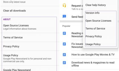 Google Play Newsstand relocates options under About to Help & feedback
