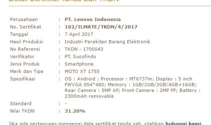Moto E4 specs leak via P3DN listing