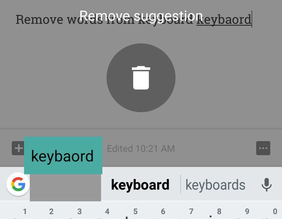 How to remove learned words from any keyboard on Android