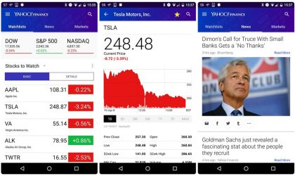View your quotes in the notification drawer with the latest update of Yahoo finance app