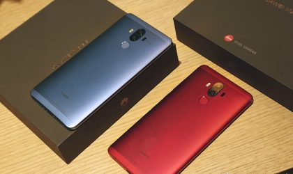 Check out Mate 9's Agate Red and Topaz Blue color in real-world pics
