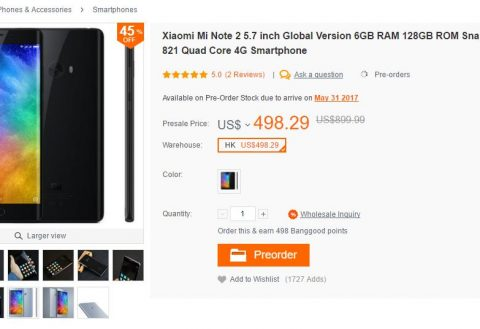 [Deal] Get a Xiaomi Mi Note 2 for as low as $430 and with free shipping
