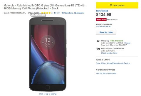 [Hot Deal] Refurbished Moto G4 Plus going for $135 at Best Buy