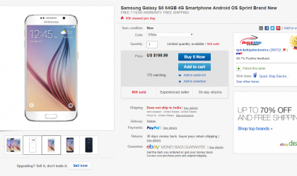 Deal: Sprint Galaxy S6 64GB going for $200 only at eBay