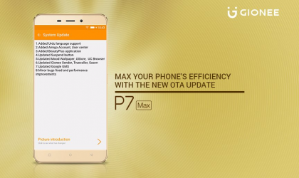 Gionee P7 Max update rolling out with performance improvements
