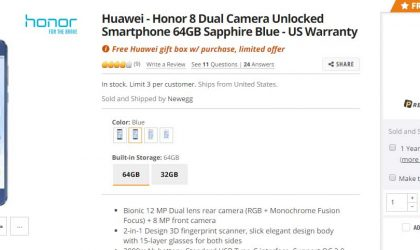 Deal: Get Blue Huawei Honor 8 64GB (with a free gift box) for $300 at Newegg