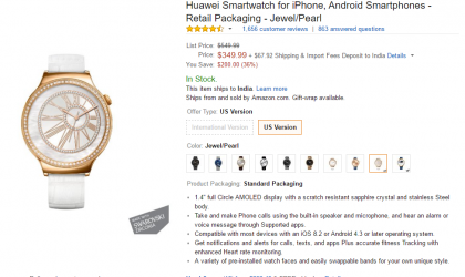 Deal: Huawei Watch Jewel/Pearl available for just $350 at Amazon ($200 off)