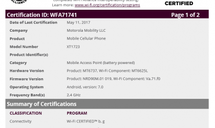 Moto E4 crosses Wi-Fi Alliance, could release within a month