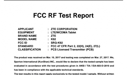 ZTE K92 Android tablet passes through FCC, nears release