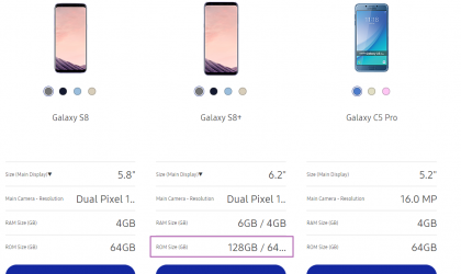 Galaxy S8+ with 6GB RAM and 128GB storage available in Hong Kong