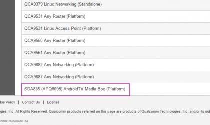 SDA835 (APQ8098) platform: Qualcomm plans new Android TV mediabox powered by Snapdragon 835 processor