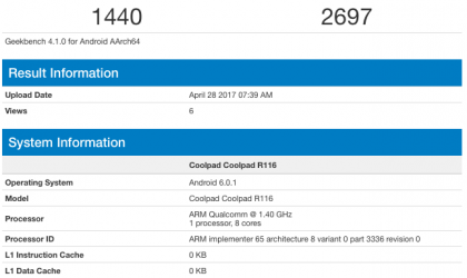 Coolpad R116 specs leaked via Geekbench