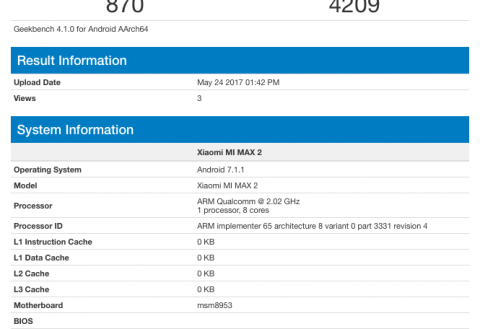 Xiaomi Mi Max 2 hits Geekbench with Snapdragon 625 processor, 4GB RAM and Android 7.1.1