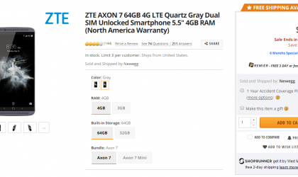 Deal: Get ZTE Axon 7 with 4GB RAM and 64GB storage for $330 at Newegg ($70 off)