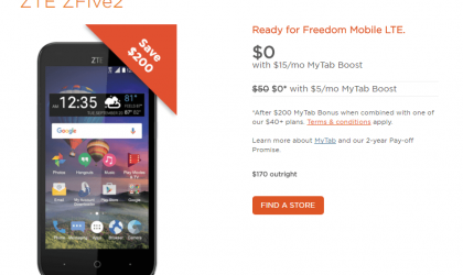 ZTE ZFive2 launched in Canada through Freedom Mobile, priced at $170