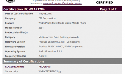 ZTE Z851 with Android 7.1.1 to launch soon