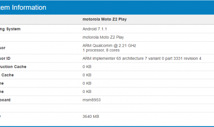 Motorola Moto Z2 Play benchmarks available at Geekbench, specs confirmed too