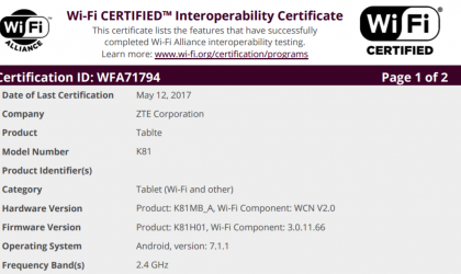 ZTE K81 Android 7.1.1 tablet shows up at Wi-Fi Alliance