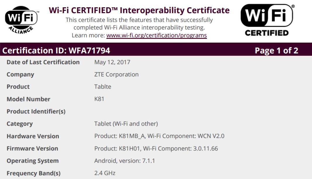 Zte tablet model k88