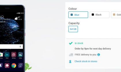 Blue color of Huawei P10 and P10 Plus now available at Carphone Warehouse UK
